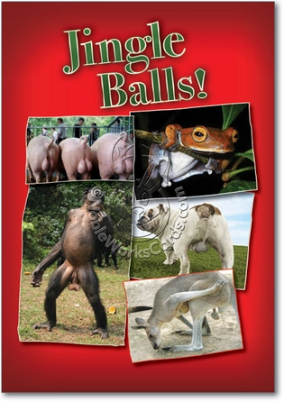 Jingle Balls Unique Humorous Merry Christmas Paper Card Nobleworks
