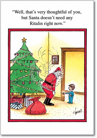 Ritalin Unique Funny Merry Christmas Card Nobleworks
