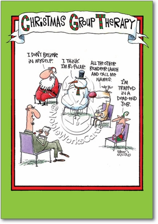 Group Therapy Humorous Merry Christmas Paper Card Nobleworks