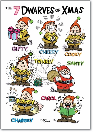 Funny top 10 elf cards nobleworks cards gifty cheery cooky twinkly santy chargey and carol are the dwarves of the christmas season watch out with your wallet and chargey and let cooky into m4hsunfo